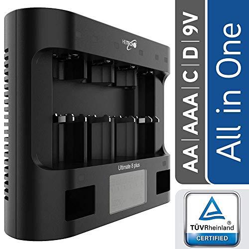 HEITECH Universal Ladegerät Ultimate 8+ für AAA, AA, C, D, 9V NiMH Akku Batterie & USB - Batterieladegerät 8-Fach zum Laden & Entladen von Akkus & wiederaufladbare Batterien - Schnellladegerät (Akku-ladegeräte Aa-aaa-c-d)
