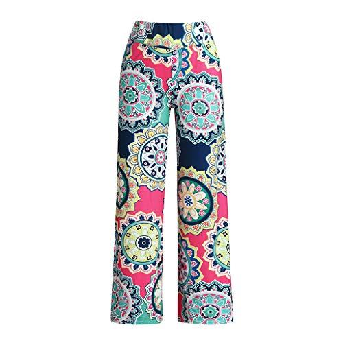 Lazzboy Damen Casual Loose Printed Stretchy Wide Leg Lounge Long Pants Damen-Hose-Schlupfhose-kofferhose-Stretchbund(Hot Pink,L) Wide Leg Cord Pant