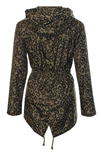Fuchia boutique - Manteau imperméable - Parka - Femme Vert - Khaki Leopard