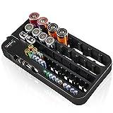 D-FantiX Testeur de batterie et organisateur de stockage de batterie AAA AA noir, 72 cas de grandes