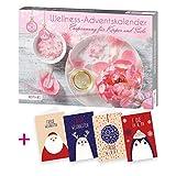 itenga AktionsSet10 1x Roth gefüllter Adventskalender für Frauen Wellness Entspannung + 4 Weihnachtskarten Klappkarten