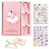 VAMEI Carnet de Notes Mignon avec Forme de Licorne Cahier Set Lovely & Pretty Cadeaux Pour Faveur De Fête D'anniversaire, Occasions De Graduation (Rose)