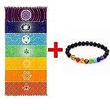Épais Carré Bohême Mandala Yoga Couverture Pur Coton 7 Chakra Yoga Serviette avec Glands Arc-En-Tapisserie Rayures Plage Serviette Yoga Tapis 59 * 29.5 pouces (59 x 29.5 pouces)