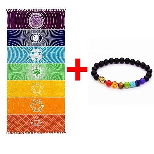 Grueso Cuadrado Bohemia Mandala Manta de yoga Pure Cotton 7 Toalla de yoga Chakra con borlas Rainbow Tapestry Stripes Toalla de playa Yoga Mat 59 * 29.5 pulgadas (59 * 29.5 pulgadas)