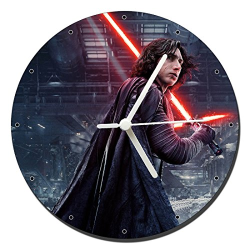 MasTazas Star Wars Los Ultimos Jedi The Last Jedi Adam Driver Kylo REN Reloj de Pared Wall Clock 20cm