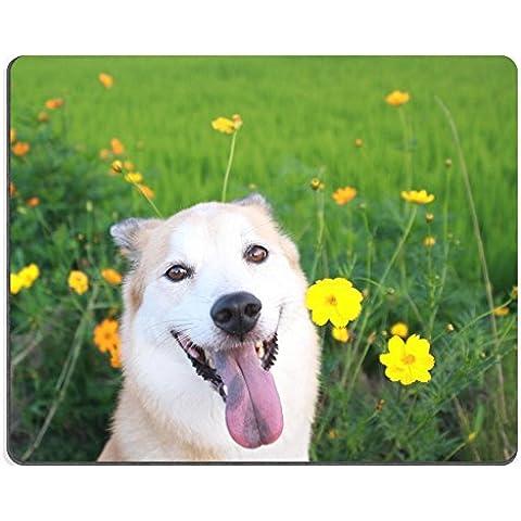 luxlady Gaming Mousepad imagen ID: 30864619el Perro de la sonrisa y flores