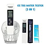 Cartshopper Tds Large Display Screen 3-in-1 Tds + Ec + Temp Meter Multifunctional Tds (Total Dissolved Solids) Ec (Electrical Conductivity) & Temperature Monitor Water Quality Tester Pen Type Pocket Sized Handheld Plastic Portable Hydroponic Ppm Water Conductivity Measurement Tool Digital Thermometer