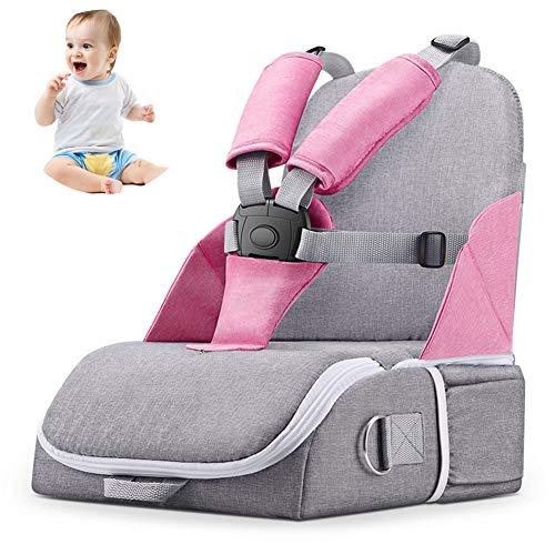LUGUMU Boostersitz, Faltbar Mobiler Kindersitz Sitzerhöhung Und Reisesitz, Wickeltasche In Baby Reisesitz Verwandeln,Pink