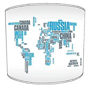 Premier Lampshades Mesa Mapa del Mundo Azul de la tipografía,