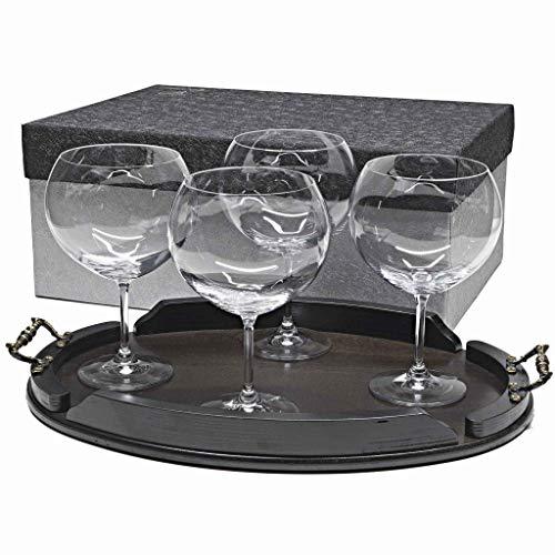 la galaica Set/Étui de 4 Coupes en Verre pour gin Tonic + Plateau en Bois Couleur wenge Ovale, Collection 000\