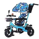 SSLC Kinderdreirad,Kinderwagen Dreirad ab 1 Jahr mit lenkbarer Schubstange, flüsterleise Gummireifen und Sonnendach, durch 4-Fach Umbau für ab ca 1-5 Jahre Geeignet(Blau)
