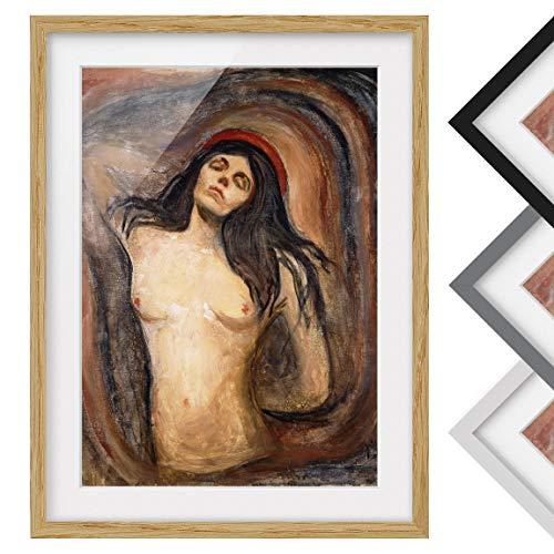 Bild mit Rahmen - Edvard Munch - Madonna - Rahmenfarbe Eiche, 40 x 30 cm -