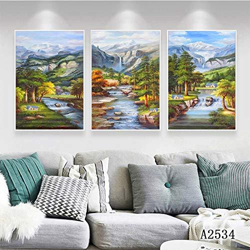 zlhcich Pittura a Olio Paesaggio Foresta Triple Bar Decorazione del Club Pittura Cuore Pittura Cuore 50 * 70cmX3
