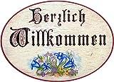 Kaltner Präsente Geschenkidee - Holz Geschenkartikel Deko Türschild im Antik Design Dekoartikel Motiv HERZLICH WILLKOMMEN (Ø 18 cm)
