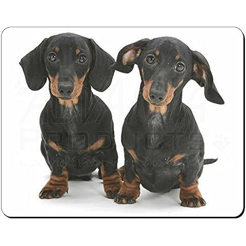 Dos perros del Dachshund lindo Estera del ratón del ordenador regalo de Navidad