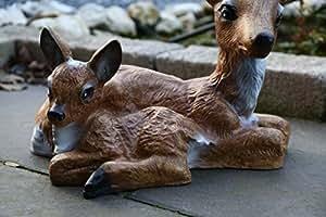 Sculpture statue de jardin chevreuil mère et enfant xL bambi uv et résistant aux intempéries-rehmutter tierfigur kitz décoration de jardin avec jolie décoration qui résiste aux intempéries et au gel xL 40 cm