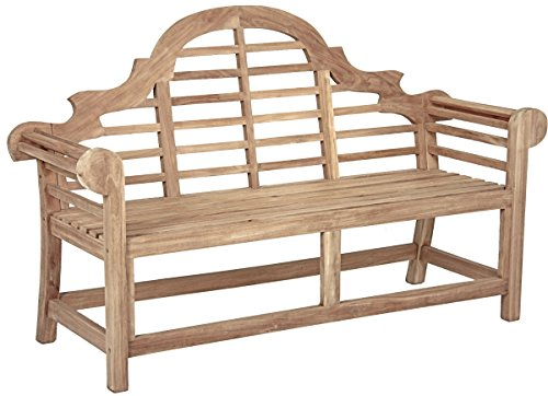 Designer Gartenbank Holz Teak - wunderschöne Teakholz Bank mit hoher Rückenlehne als 3-Sitzer Modell - aus unbehandeltem hochwertigem Teak Holz hergestellt - 150 cm Breite