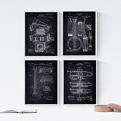 Nacnic Negro - Pack 4 Láminas Patentes Música. Set