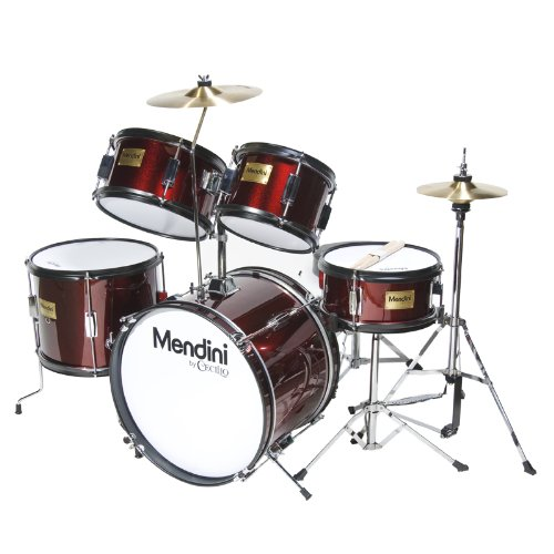 mendini-mjds-5-wr-kinderschlagzeug-komplett-set-406-cm-16-zoll-metallisch-weinrot
