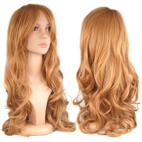 Perruques cosplay de longs cheveux de femmes européennes et américaines , light brown , 2