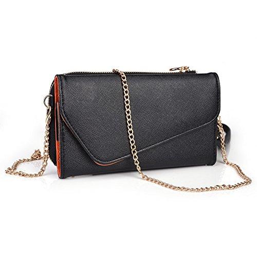 Kroo d'embrayage portefeuille avec dragonne et sangle bandoulière pour Asus Fonepad Note 6 Black and Green Black and Orange