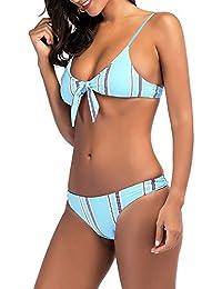 ☀☀Ulanda-EU Femme Maillot de Bain 2 Pièces Femme Push Up Grande Taille Sexy  Tankini Bikini Bandeau Trikini Ensembles Maillots Deux… 78eaf32a565