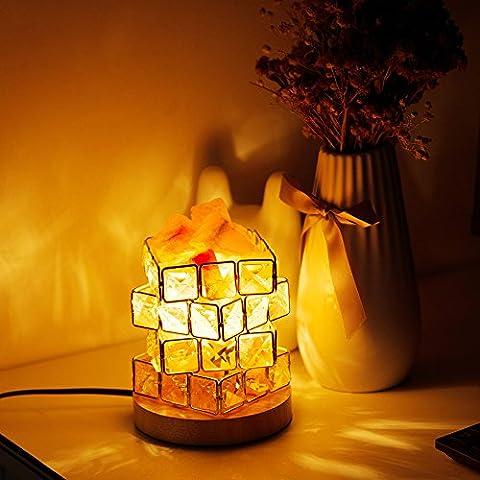 HALOViE Salt Lamp Natural Himalayan Crystal Cube Salt Night Lamps with 15 Watt Light Bulb and Rotary Dimmer