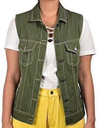 12e51f87200 Denim Club India Hand-stitched Handloom Denim Trucker Jacket for Women  (Sleeveless) Olive