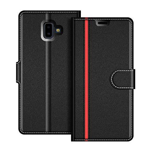 COODIO Samsung Galaxy J6 Plus Hülle Leder, Samsung J6+ Lederhülle Ledertasche Wallet Handyhülle Tasche Schutzhülle mit Magnetverschluss/Kartenfächer für Samsung Galaxy J6 Plus, Schwarz/Rot