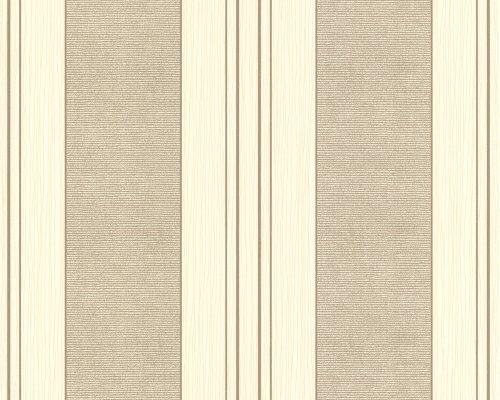 Vliestapete Fioretto Tapete Streifentapete 10,05 M X 0,53 M Beige Braun  Metallic Made