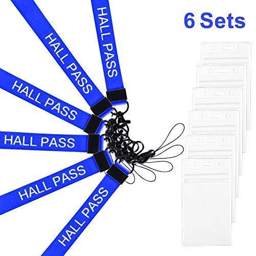 Melife Schlüsselbänder mit Ausweishalter, Kartenausweis, Schlüsselbänder, J-Haken-Clip, vertikale Kunststoffhülle, wasserfest, für Büro, Schule, Rot, 6 Stück blau