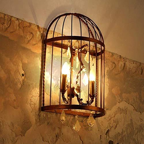 Mirror Lamps Home Mur Mural Campagne Murs Chambres Lampes De Chevet Allées Murs Suspensions Lampes Créativité Personnalité Fer Cage À Oiseaux Cristal Appliques (Color : Edison Bulbs)