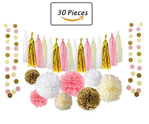 Kindergeburtstag Deko,Geburtstag Dekoration Set,Rosa und Gold Tissue Papier Pom Poms Blumen Quaste Girlande für Geburtstag Hochzeit Party Dekorationen (Gold-und Rosa-party)