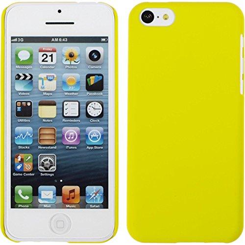 PhoneNatic Case für Apple iPhone 5c Hülle rot gummiert Hard-case für iPhone 5c + 2 Schutzfolien Gelb