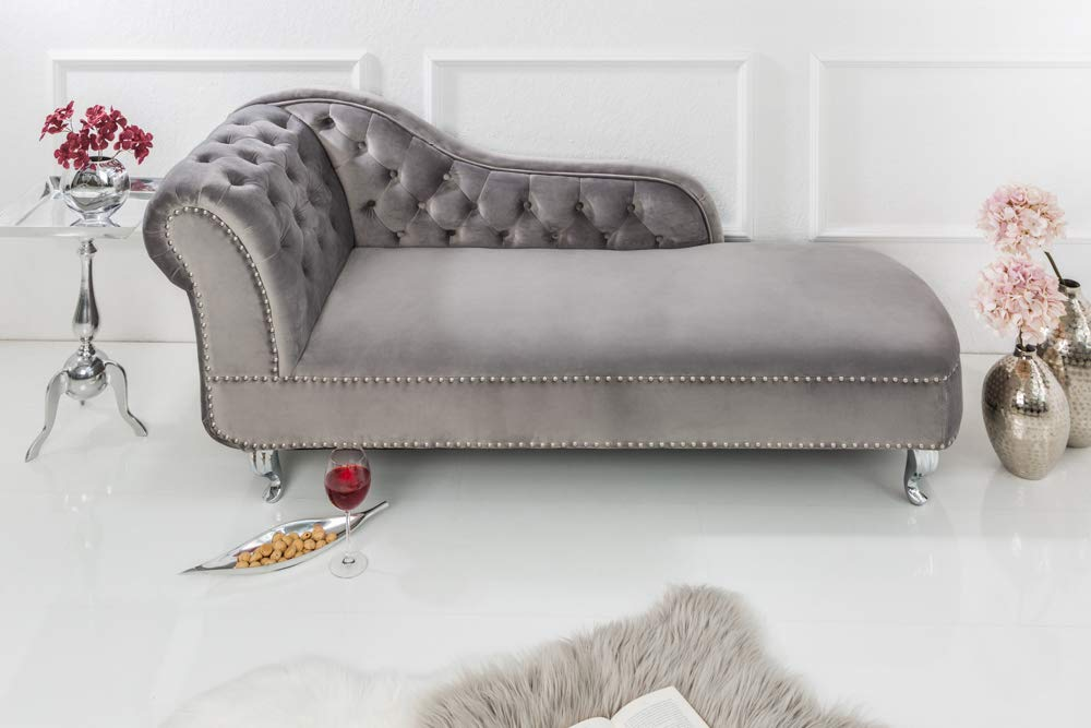 riess ambiente design chesterfield recamiere in silbergrau samt recamiere chaiselongue lounge sofa