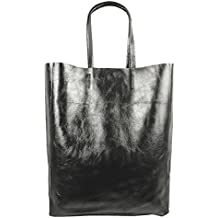 d1ed9444a912e Freyday Damen Echtleder Shopper mit Innentasche in vielen Farben  Schultertasche Henkeltasche Metallic look