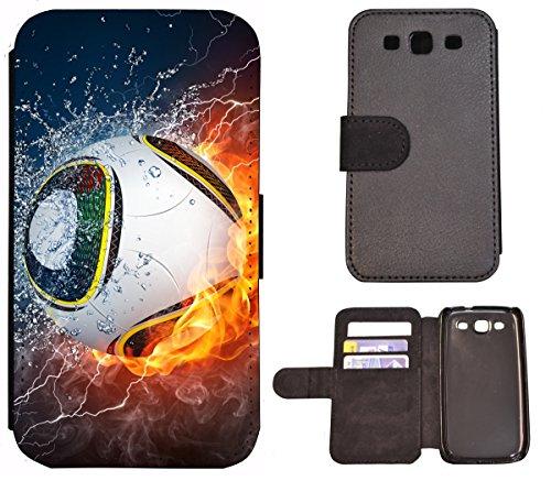 Hülle Galaxy S3 Hülle Galaxy S3 Neo Schutzhülle Flip Cover Case Samsung Galaxy S3 / S3 Neo (1359 Fußball Fussball im Feuer Abstract) Logo Samsung S3 Case