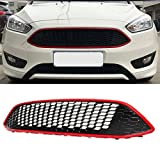 FeLiCia Black Red Honeycomb Mesh Front Bumper Center Grille Panel Für Focus Mk3 St Line