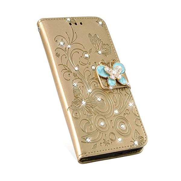 Uposao Compatible with Samsung Galaxy A8 2018 Case Bling Diamond Rhinestone Glitter Flower Butterfly Pattern PU Leather Wallet Case with Kickstand Card Holder Flip Cover Magnetic,Gold Uposao Compatible Model:Samsung Galaxy A8 2018 Package:1 x Wallet Case Cover,1 x Black Stylus Touch Pen Precision incision: Precise and Active-easily access to all ports, sensors, speakers, cameras and all Phone features.Change the volume, answer a call, charge your battery, take a picture, and listen to music without ever having to open your case 5