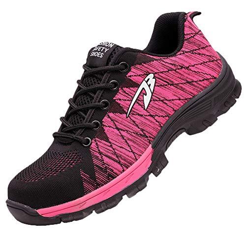 Gainow Damen Herren Arbeitsschuhe Stahlkappe Sicherheitsschuhe Sportlich 200J Leicht Stahlkappe Atmungsaktiv Schutzschuhe Trekking Wanderhalbschuhe Hiking Schuhe Traillaufschuhe (39 EU, Pink)