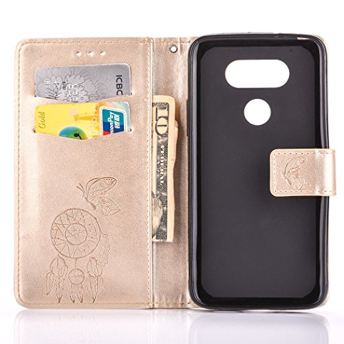 ISAKEN Accessories Cover Per LG G5 PU Pelle Portafoglio Custodia, Elegante borsa Drawing Pattern Design in Sintetica Ecopelle Libro Bookstyle Wallet Flip Portafoglio Case Cover Anti Slip Case Copertur Dreamcatcher: gold