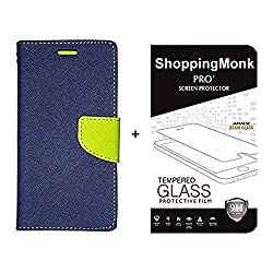shoppingmonk Mercury Goospery Fancy Diary Wallet Flip Case Cover for Xiaomi Redmi 4a + Premium 2.5D Curved 9H Hardness Tempered Glass screen protector.