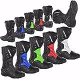 ProFirst Split Leder Wasserdicht Motorrad Motorrad Gepanzerte Stiefel Stiefel Schuhe Anti-Rutsch Rennsport | Schwarz/Black, EU 43
