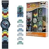LEGO Star Wars 8020448 Orologio da polso componibile per bambini con cinturino a maglie e minifigure Boba Fett | per i bambini | verde/marrone | ragazzo/ragazza | Diametro di 28 cm | Quarzo analogico