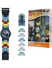 Reloj modificable infantil de figurita de Boba Fett de LEGO Star Wars; verde/gris; plástico; 28 mm de diámetro; Cuarzo analógico| chico chica; oficial