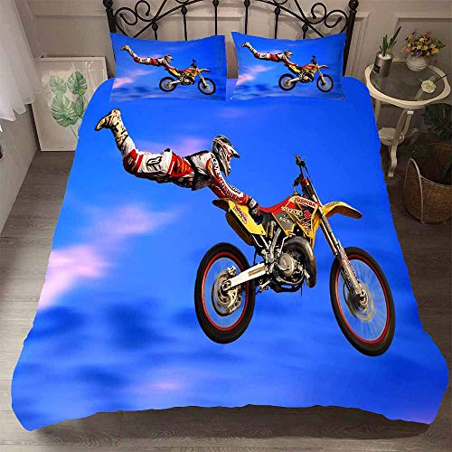MOUMOUHOME Extrem Sport Thema Mikrofaser Bettwäsche Set 3 Stück mit 1 Bettbezug 2 Kissenbezug,3D Druck Cooler Mann und Motorrad Blau,Keine Bettdecke,200x200cm -
