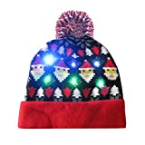 Gaddrt Hut Frohe Weihnachten LED-Strumpfhut Beanie Hairball Warm Cap Geschenke 22x22cm (I)