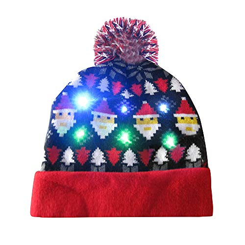 2019 Merry Christmas Knitted Hat, Unisex Trooper Trapper Hat, Merry Christmas LED Light-up Knit Hat Beanie Hairball Warm Cap Gifts(A8)