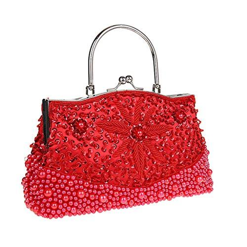 MagiDeal Womens Perlen Pailletten Abendtasche Hochzeit Partei Handtasche Kupplung Geldbörse Rot - Rot (Womens Brieftaschen Und Kupplungen)