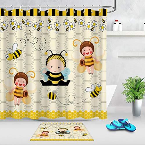 gel Blume Cute Bee Baby Fly Honig Duschvorhang ✚ 60X40 cm Bad Matte Vorhang wasserdichtem Polyester Stoff für Badewanne Wohnkultur ()